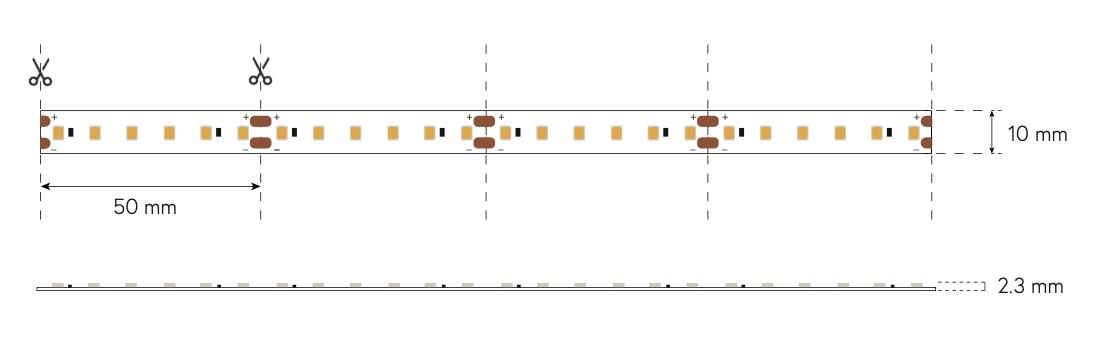 dimensione led strip 9.6wm